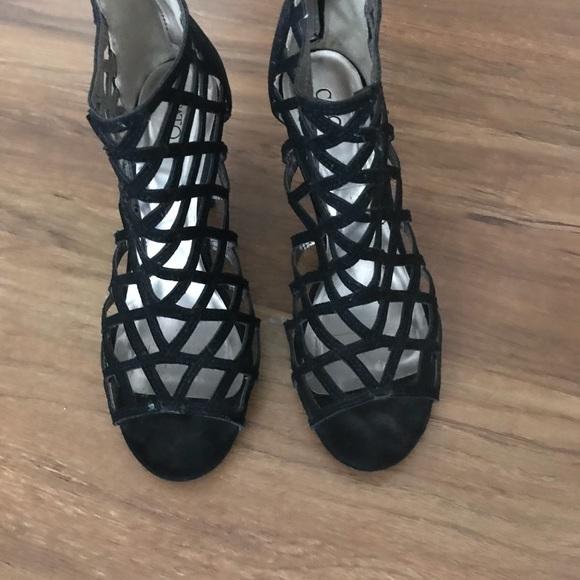 2e2e64082a Shoes | Black Strappy Low Heel Sandal Suede | Poshmark